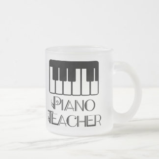 Piano Teacher Keyboard Music Frosted Glass Coffee Mug