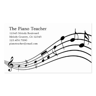 Piano Teacher Pianist Musician's Business Card Pack Of Standard Business Cards