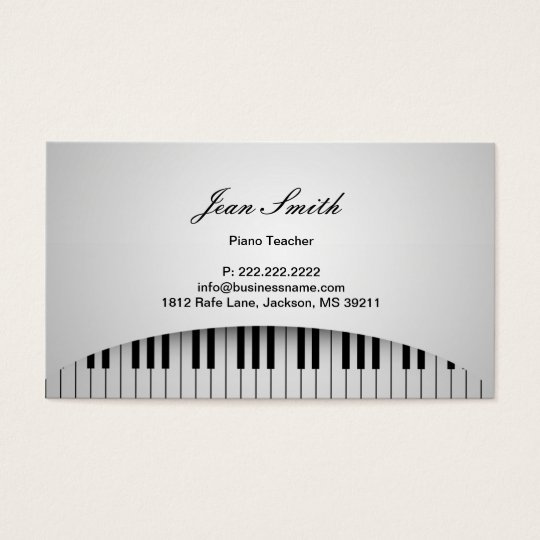 Piano Teacher Pure White Piano Keys Music Business Card
