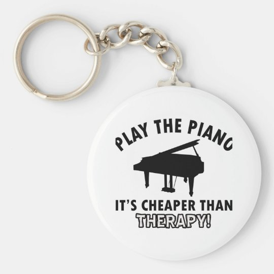 piano therapy design basic round button key ring
