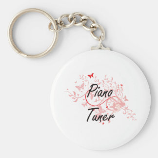 Piano Tuner Artistic Job Design with Butterflies Basic Round Button Key Ring