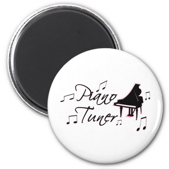 Piano Tuner Music Notes with Pink Pedals and Trim 6 Cm Round Magnet