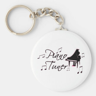 Piano Tuner Music Notes with Pink Pedals and Trim Basic Round Button Key Ring