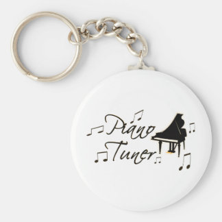 Piano Tuner witih Brownish Orange Pedal and Trim Basic Round Button Key Ring