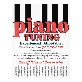 Piano Tuning. Keyboard. Music lessons. Tear sheet Flyer Design