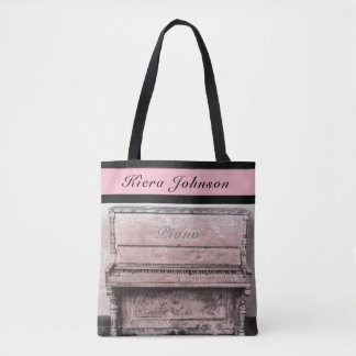 Piano Vintage Antique Music Tote Name Monogram