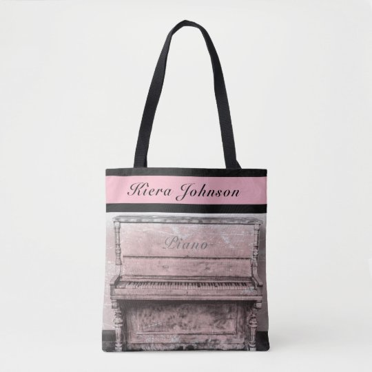 Piano Vintage Antique Music Tote Name Monogram