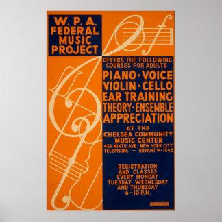 Piano Violin Classes 1939 Vintage WPA Poster