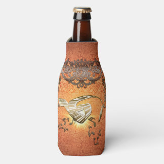 Piano with kay notes on decorative background bottle cooler