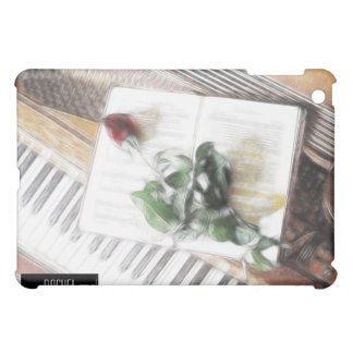 Piano with Red Rose Fractal iPad Cover