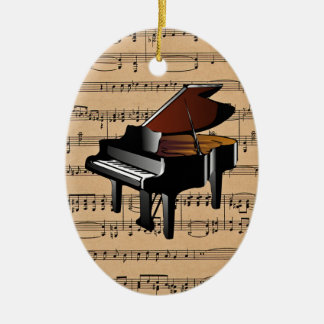 Piano ~ With Sheet Music Background Christmas Ornament