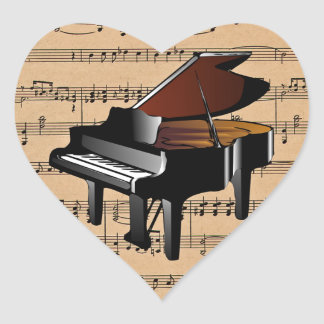 Piano ~ With Sheet Music Background Heart Sticker