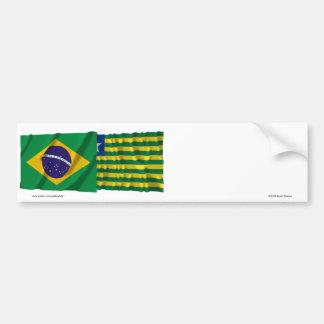 Piauí & Brazil Waving Flags Bumper Sticker