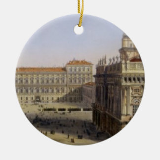 Piazza Castello, Turin, engraved by F. Citterio (c Christmas Ornament