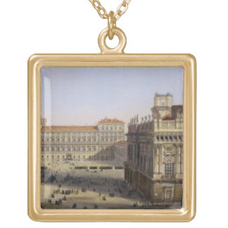Piazza Castello, Turin, engraved by F. Citterio (c Gold Plated Necklace