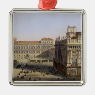 Piazza Castello, Turin, engraved by F. Citterio (c Silver-Colored Square Decoration