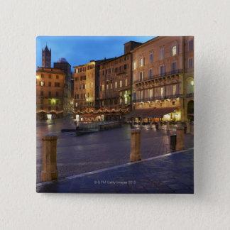 Piazza Del Campo at dusk,Siena. 15 Cm Square Badge