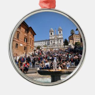 Piazza di Spagna, Rome, Italy Silver-Colored Round Decoration