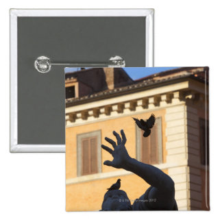 Piazza Navona Bernini fountain statue, pigeon in 15 Cm Square Badge