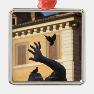 Piazza Navona Bernini fountain statue, pigeon in Christmas Ornament