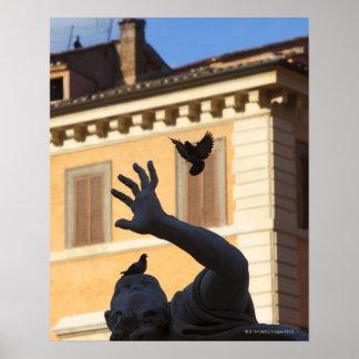 Piazza Navona Bernini fountain statue, pigeon in Poster