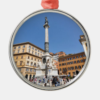 Piazza Navona in Rome, Italy Silver-Colored Round Decoration