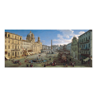 Piazza Navona, Rome art custom invitation