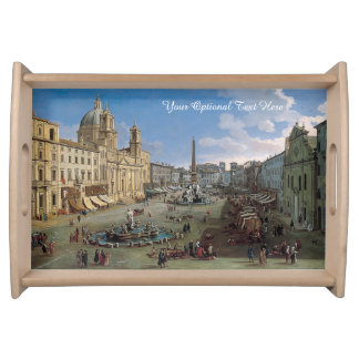 Piazza Navona, Rome art custom serving tray