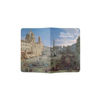 Piazza Navona, Rome art custom text passport cover
