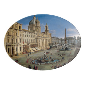 Piazza Navona, Rome art porcelain platter
