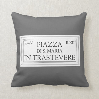 Piazza Santa Maria in Trastevere, Rome Street Sign Throw Pillow