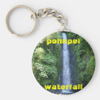 pic. of pohnpei waterfall /keychain basic round button key ring