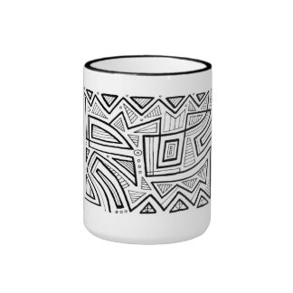 Picaro Abstract Expression Black and White Ringer Mug