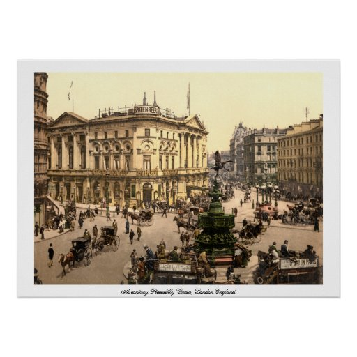 Piccadilly Circus, Antique London England UK. Poster