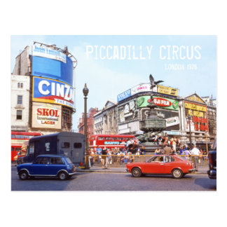 Piccadilly Circus, London Colorful Cars West End Postcard