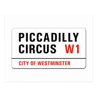 Piccadilly Circus, London Street Sign Postcard