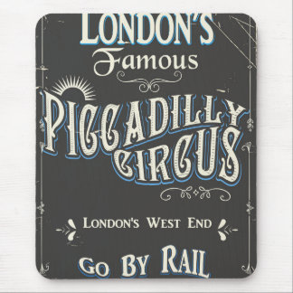Piccadilly Circus London vintage poster Mouse Mat