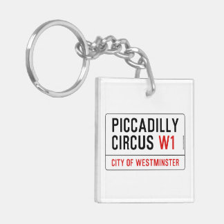 Piccadilly Circus Street Sign Double-Sided Square Acrylic Key Ring