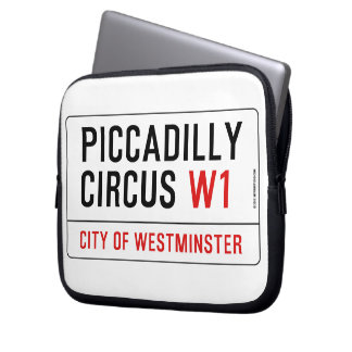 Piccadilly Circus Street Sign Laptop Sleeve