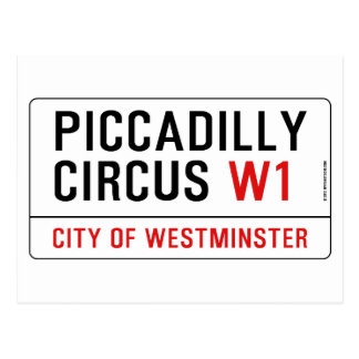 Piccadilly Circus Street Sign Postcard