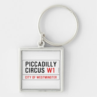 Piccadilly Circus Street Sign Silver-Colored Square Key Ring