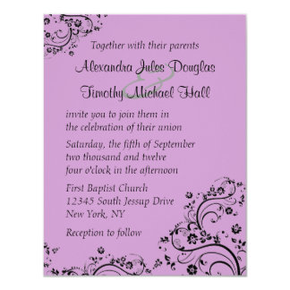 Pick a color back floral swirls wedding invitation