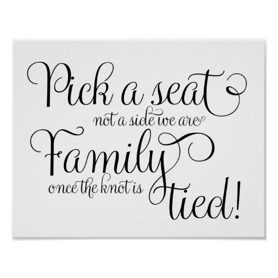 Pick a seat chalk and glitter wedding sign