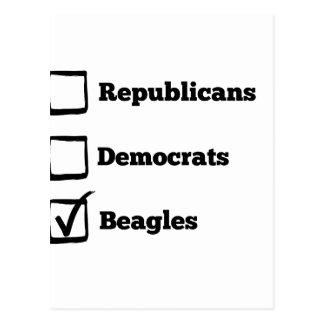Pick Beagles! Political Beagle Print Postcard