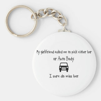 Pick Girlfriend or Auto Body Basic Round Button Key Ring