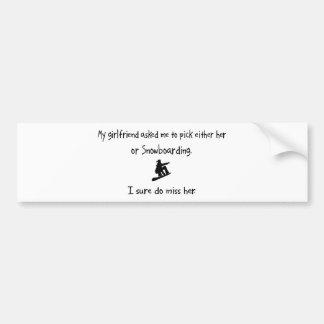 Pick Girlfriend or Snowboarding Bumper Sticker