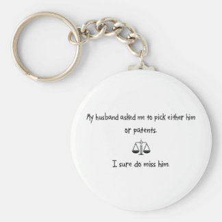 Pick Husband or Patents Key Ring
