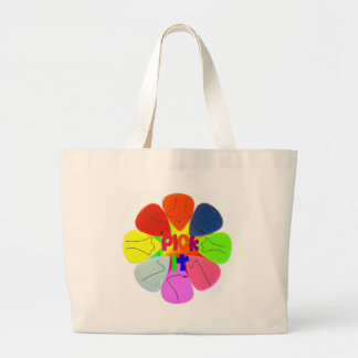 """""""Pick It"""" Guitar Picks with Noses Large Tote Bag"""