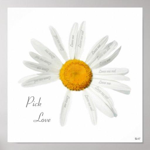 Pick Love Daisy Poster