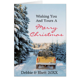 Pick up truck with pine tree on back greeting card